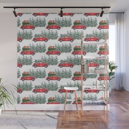 Corgis in car in winter forest Wall Mural