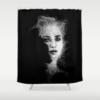 jennifer lawrence Shower Curtains featuring JENNIFER by naidl