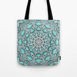 12-Fold Mandala Flower in Turquoise Tote Bag