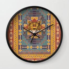 Boho Graphic Moroccan Oriental Modern Pattern Art Design - 3 Tiger Wall Clock