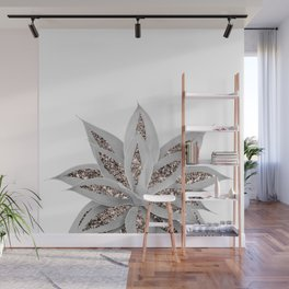 Gray Agave with Rose Gold Glitter #3 #shiny #tropical #decor #art #society6 Wall Mural