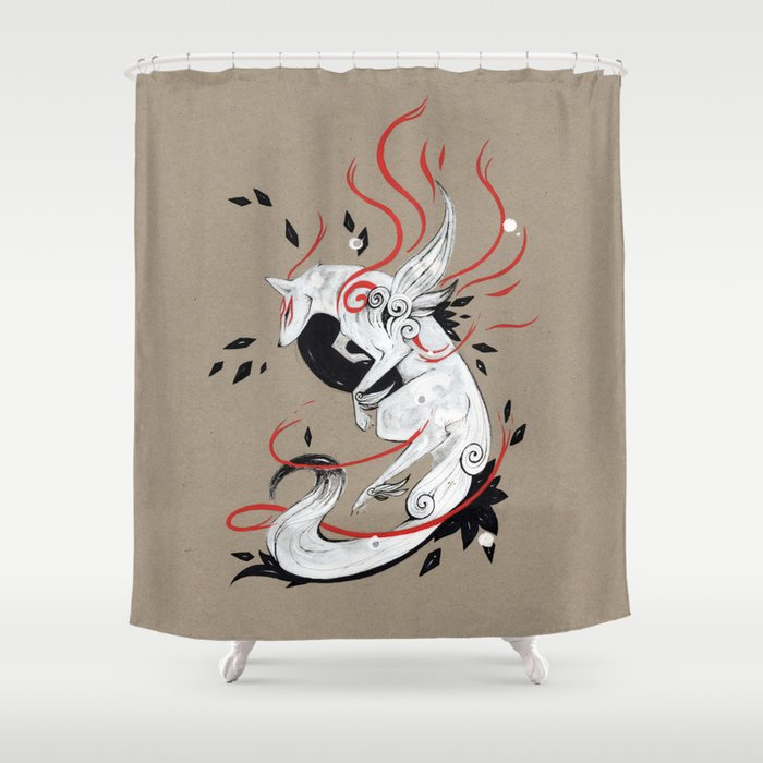 OKAMI RIBBONS Shower Curtain By Rubisfirenos