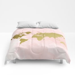 Gold World Map Poster Comforters