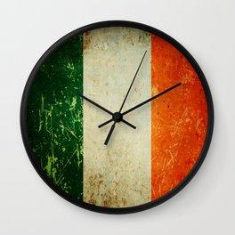 Grunge Irish Flag / Irish Tricolour Wall Clock
