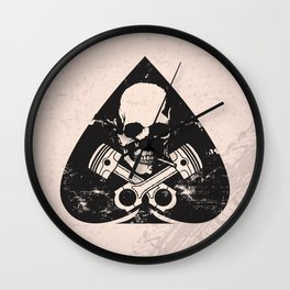 Grunge ace of spades Wall Clock
