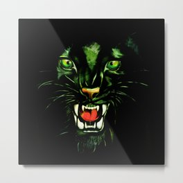 Fierce and Powerful Black Panther Metal Print