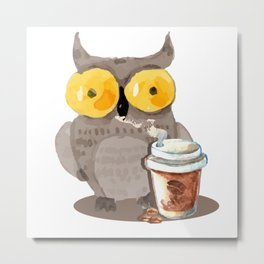 The owl and coffee Metal Print