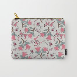 Pink flowers vector pattern, seamless vector pattern white background Carry-All Pouch