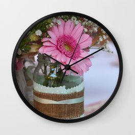 Pink flower in shabby chic vase Wall Clock