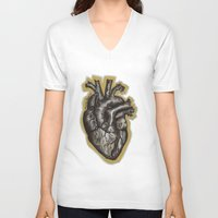 anatomical heart V-neck T-shirts featuring Anatomical Heart by Micaela Payne
