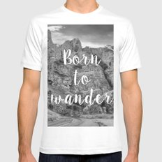 Born To Wander White Mens Fitted Tee MEDIUM