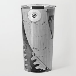 Wooden gears in black and white Travel Mug