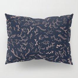 Modern floral rose gold christmas mistletoe leaf navy blue Pillow Sham
