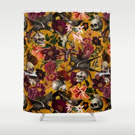 Vintage & Shabby Chic - Floral and Skull Gothic Pattern Shower Curtain