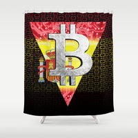 spain Shower Curtains featuring bitcoin spain by seb mcnulty