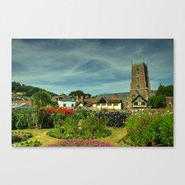 Dunster Church and secret garden Canvas Print