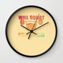 Sushi Sport Fitness Gym Vintage Retro Wall Clock