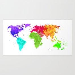 World map ink droplets splash  Art Print