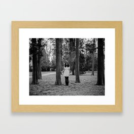 It's best to visit woods in white Framed Art Print