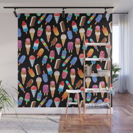 Black Summer Ice Cream and Popsicles Wall Mural