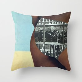 The People's History of the United States (Beach Edition) Vintage Collage Throw Pillow