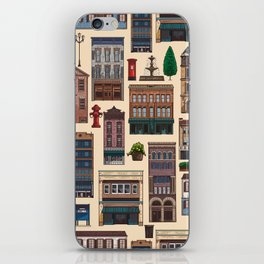 Vintage white brown architecture town pattern iPhone Skin