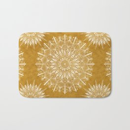 Vintage Mandala on Gold Bath Mat