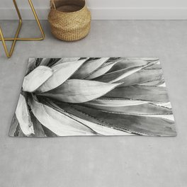 Cactus Leaves // Black and White Home Decor Vibes Desert Hombre Plant Photograph Rug