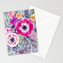 RED ANEMONE SPRAY FLORAL Stationery Cards