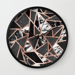 Modern Rose Gold Glitter Marble Geometric Triangle Wall Clock