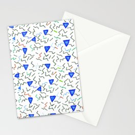 Hand painted blue green watercolor 80s memphis pattern Stationery Cards