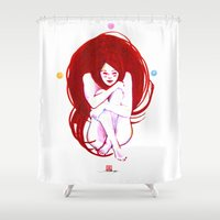 musa Shower Curtains featuring MUSA RED by Xavi Guerra