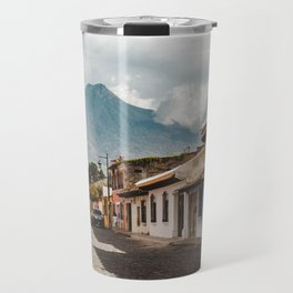Beautiful lush street in Antigua Guatemala with volcano views Travel Mug