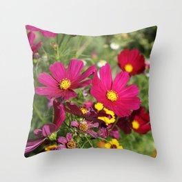 Cosmos In The Garden Throw Pillow