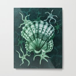 Dystopian Cockle - Lambent Green Metal Print
