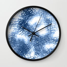 Ink Blue Watercolor Painting Minimalist Design Wall Clock
