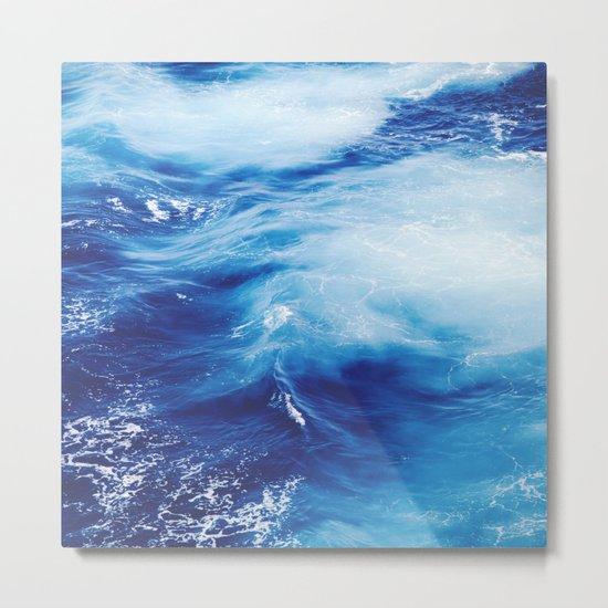 Blue Ocean Water Waves Metal Print