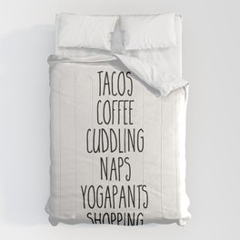 Tacos & Coffee Funny Quote Comforters