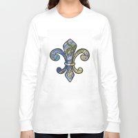 fleur de lis Long Sleeve T-shirts featuring Fleur De Lis by Candy Heart Whimsy