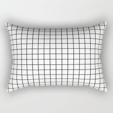 Emmy -- Black and White Grid, black and white, grid, monochrome, minimal grid design cell phone case Rectangular Pillow