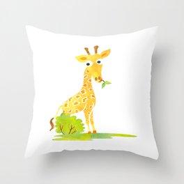 Baby Animal Watercolor Giraffe Adorable Nursery Throw Pillow