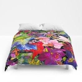 Hummingbirds Black Comforters