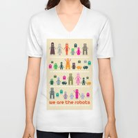 robots V-neck T-shirts featuring Robots by ALLTYPE