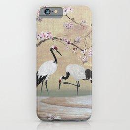 Cranes Under Cherry Tree iPhone Case