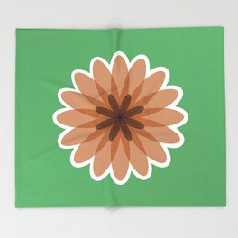 Geometric flower pattern, green and brown floral print Throw Blanket