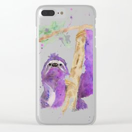 Purple Sloth Clear iPhone Case
