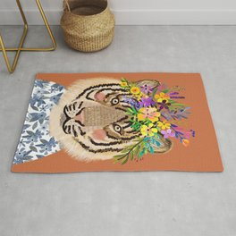Tiger with Floral Crown Art Print, Funny Decoration Gift, Cute Room Decor Rug