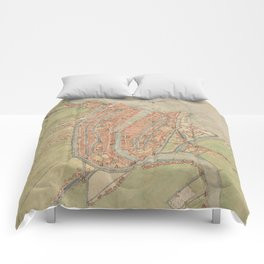 Vintage map of Amsterdam (1560) Comforters