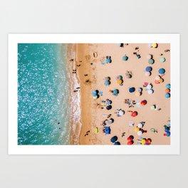 People On Algarve Beach In Portugal, Drone Photography, Aerial Photo, Ocean Wall Art Print Art Print