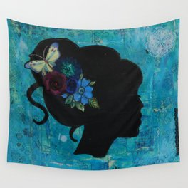 Silhouette girl Wall Tapestry